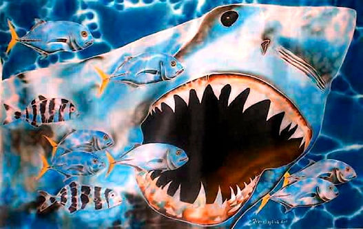 Jean-Baptiste Silk Painting of a white shark