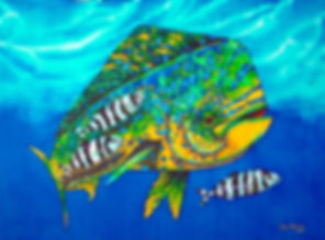 Jean-Baptiste Silk Painting of a dorado fish