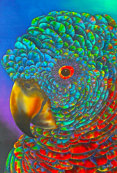 Jean-Baptiste Silk Painting of a  parrot