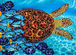 Jean-Baptiste silk painting of a sea turtle & fish