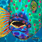 Jean-Baptiste silk painting of a wrasse fish