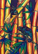 Jean-Baptiste silk painting of  chemeleon