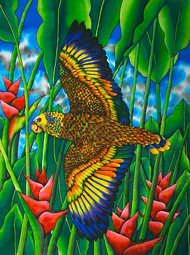 Parrot silk painting