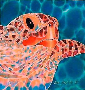 Jean-Baptiste Silk Painting of a seas turtle