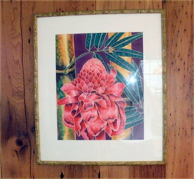 Jean-Baptiste Silk Painting of a torch ginger  flower