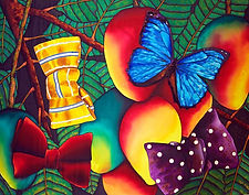 Jean-Baptiste silk painting of a butterfly & bow ties