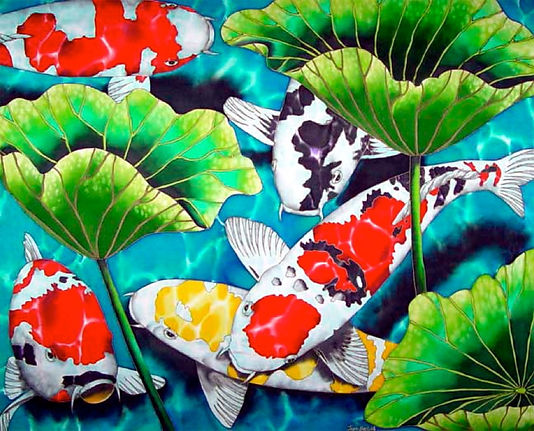 Jean-Baptiste Silk Painting of koi