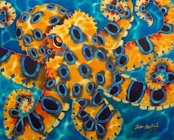 Jean-Baptiste  Silk Painting of a blue ringed octopus