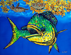 Jean-Baptiste silk painting of a  mahi mahi fish