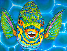 Jean-Baptiste silk painting of a parrotfish.