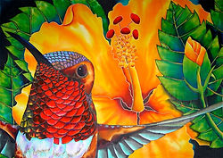 Jean-Baptiste silk painting of a  hummingbird