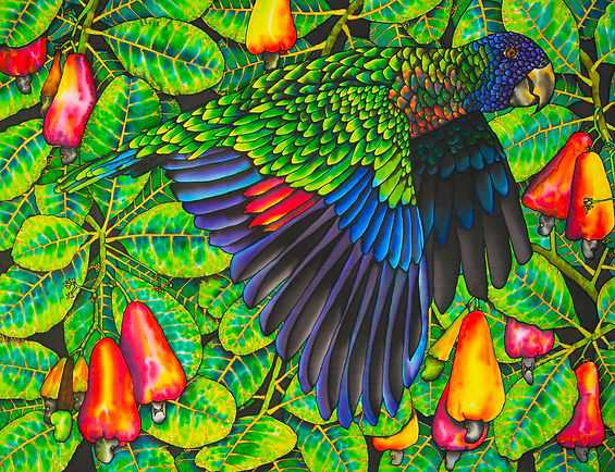 Jean-Baptiste Silk Painting of a ST. LUCIA PARROT & CASHEW TREE