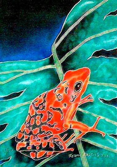 Jean-Baptiste Silk Painting of a treefrog