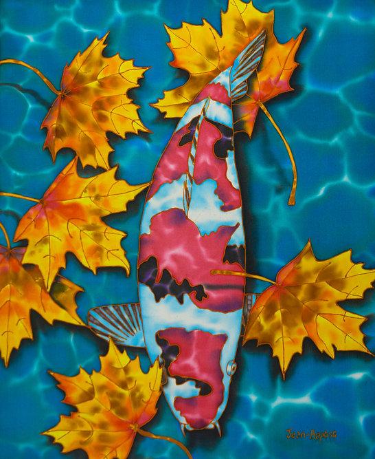 Jean-Baptiste Silk Painting of  koi fish