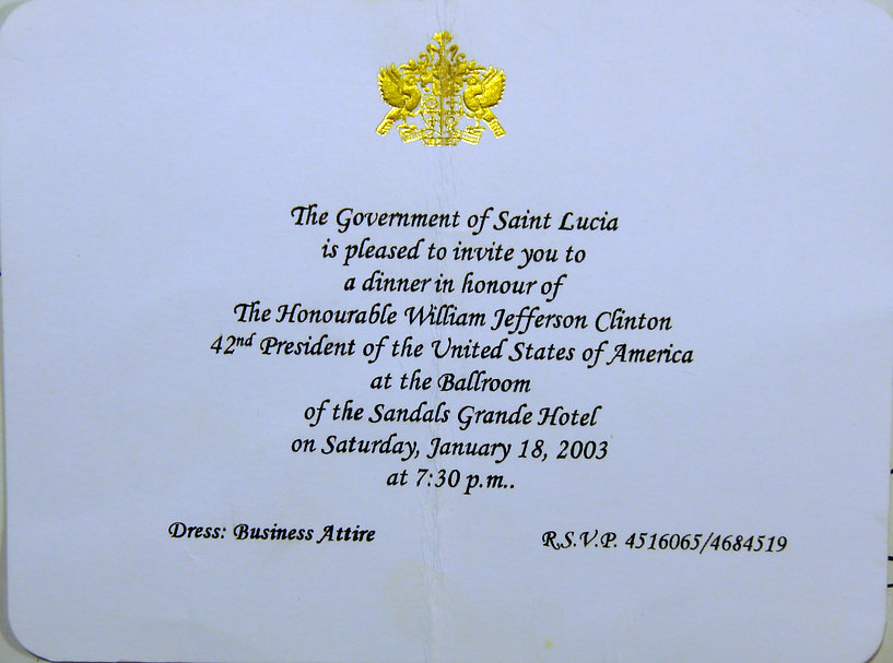 Invitation for dinner  with Bill Clinton