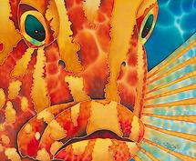 Jean-Baptiste Hand Painted silk art of a grouper