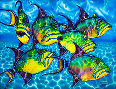 Jean-Baptiste silk painting of triggerfish