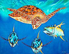 Jean-Baptiste silk painting of a sea turtle& tuna