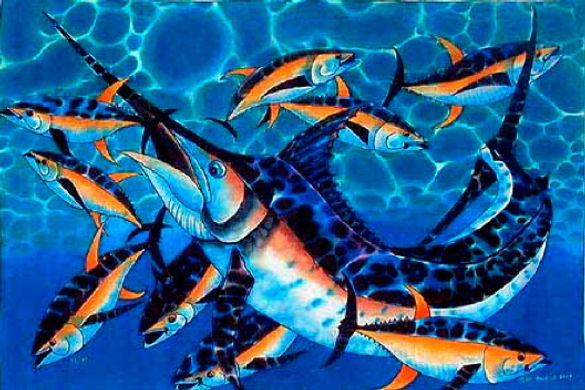 Jean-Baptiste Silk Painting of a blue marlin