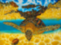Jean-Baptiste.com Silk Painting of an opal sea turtle.