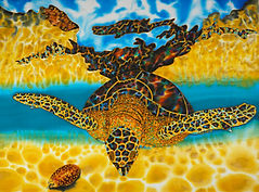 Jean-Baptiste silk painting of an opal sea turtle.