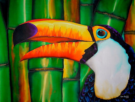 Jean-Baptiste Silk Painting of a toucan bird