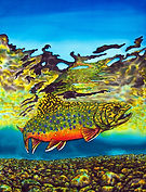 Jean-Baptiste silk painting of  a brook trout.