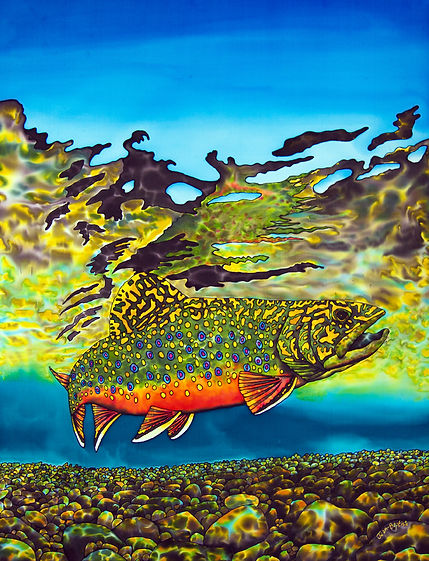 Jean-Baptiste  silk painting of a brook trout