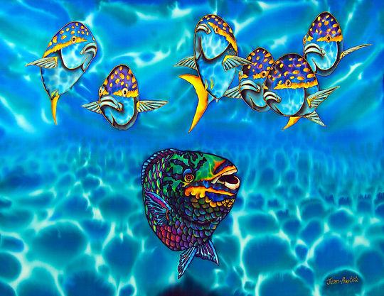 Jean-Baptiste silk painting a parrotfish