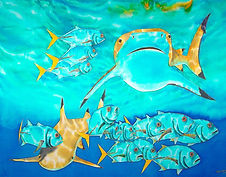 Jean-Baptiste silk painting of  blacktip shark