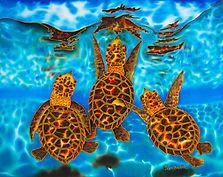 Jean-Baptiste silk painting of  sea turtles