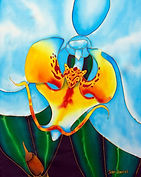 Jean-Baptiste silk painting of an orchid  flower