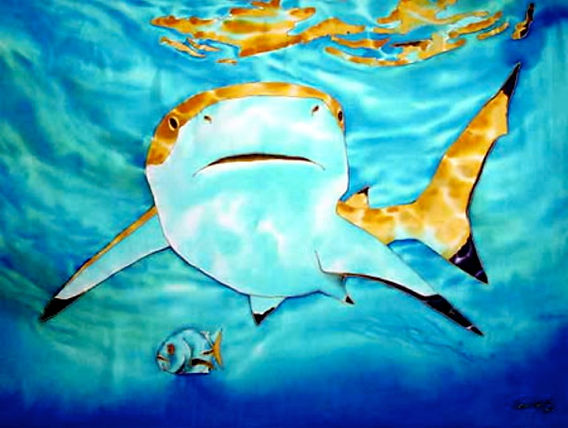 Jean-Baptiste Silk Painting of a shark