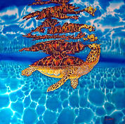 Jean-Baptiste silk painting of  a sea turtle.