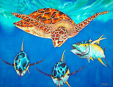 Jean-Baptiste silk painting of a sea turtle & tuna