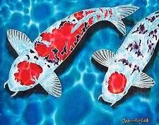 jean-baptiste  Hand Painted silk art, snapper fish