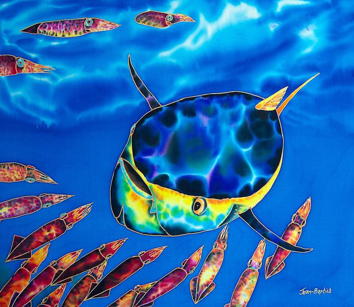 Jean-Baptiste  silk painting of tuna & squid