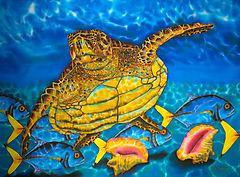 Jean-Baptiste silk painting of a sea turtle.