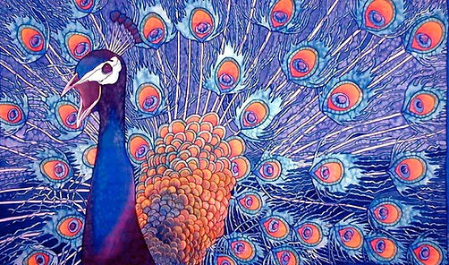 Jean-Baptiste Silk Painting of a peacock