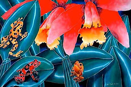 Jean-Baptiste silk painting of poison dart  frogs