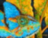 Jean-Baptiste silk painting of a chameleon