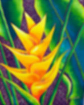 Jean-Baptiste.com Silk Painting of heliconia flower