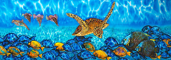 Jean-Baptiste Sea Turtle silk batik painting