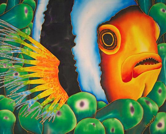 Jean-Baptiste silk painting of a clownfish