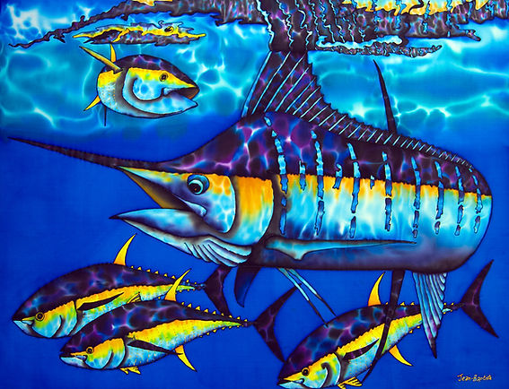 Jean-Baptiste Batik Silk Painting of a blue marlin