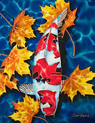 Jean-Baptiste silk painting of a koi fish