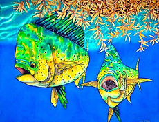 Jean-Baptiste silk painting of mahi mahi