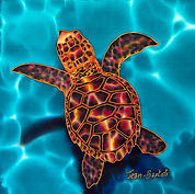 Jean-Baptiste silk painting of a hatchling sea turtle