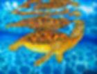 Jean-Baptiste Silk Painting of a sea turtle
