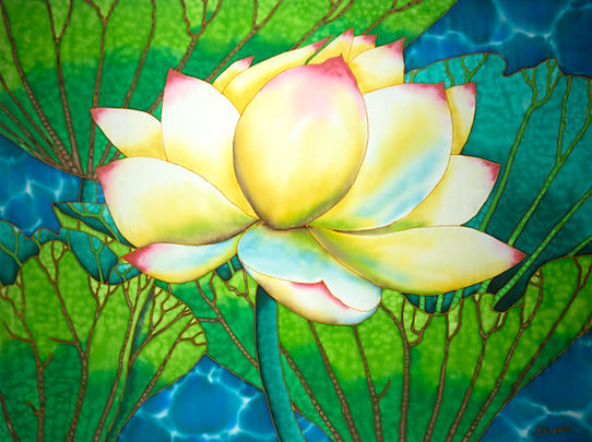 Jean-Baptiste.com Silk Painting of bird of a white lotus flower.